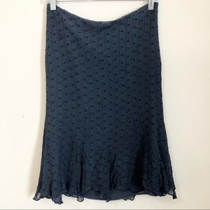 Vintage Express Blue 100% Silk Eyelet Skirt
